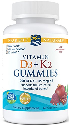 Nordic Naturals Vitamin D3 + K2 Gummies, Pomegranate - 1000 IU Vitamin D3 + 45 mcg Vitamin K2 - 60 Gummies - Great Taste - Bone Health, Promotes Healthy Muscle Function - Non-GMO - 60 Servings