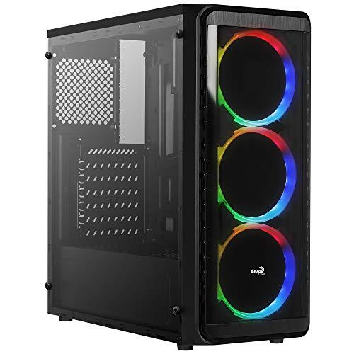 Aerocool SI5200RGB, Case Gaming PC ATX, Pannello Laterale, 3 Ventole RGB 12 cm, Nero