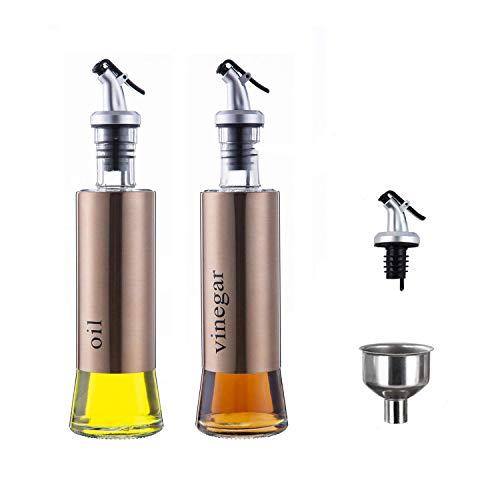MHtech Bottiglia di Olio - Olio e Aceto Dispenser Acciaio Inossidabile, Prova della Polvere EA Prova di Perdite con Beccuccio Oliera Bottiglia, Utensile da Cucina (300ml+2 Pezzi) (Oro Rosa)