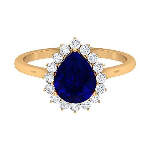 Anillo de zafiro azul con forma de pera de 9 x 7 mm, anillo de diamante de forma redonda, anillo de boda halo, lágrima gota anillo de compromiso, 14K Oro amarillo, Size:EU 63