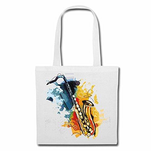 Tasche Umhängetasche Saxophon Vintage Techno Jazz Funky Soul Trance Festival House Hiphop HIP HOP DJ Einkaufstasche Schulbeutel Turnbeutel in Weiß