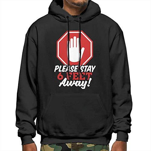 Tengyuntong Hombre Sudaderas con Capucha, Sudaderas, Men's Pullover Hooded Sweatshirt - Please Stay 6 Feet Away