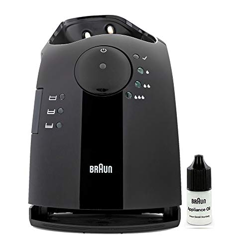 Braun Clean & Charge Station for Pulsonic Series 7 Shavers (Black) with Braun Shaver Oil (2 Items)