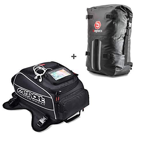 Set ST7 Motorrad Tankrucksack Bagtecs TR8 + Rucksack Dry Bag HX2