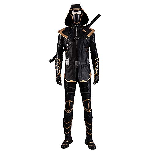 QWEASZER Avengers 4 Hawkeye Warrior Zentai Collant Ronin Cosplay Costume Maschera, Gilet, Guanti, Camicia, Pantaloni, Scarpe Film di Halloween Fancy Dress Festa,Black-Custom Size