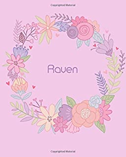 Raven: 110 Lined Pages 8x10 Cute Pink Blossom Design with Lettering Name for Girl, Journal, School and Self Note,Raven