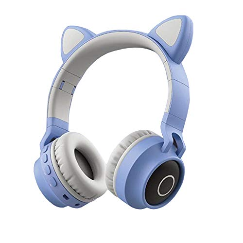 DPDM Auriculares inalámbricos Bluetooth con luz LED para iPhone, iPad, teléfonos inteligentes, ordenador portátil, PC, TV, color gris