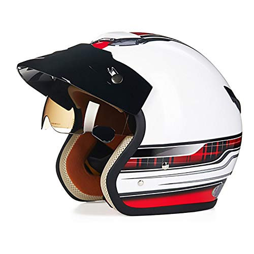 MQW Fahrradhelm für Erwachsene, Hellweiß + Rot, ABS, elektrisch, Auto, Motorrad, Fahrrad, Mountainbike, Outdoor-Fahrzeug, sichere Bewegung, M