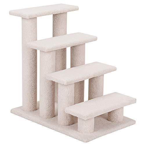 COSTWAY Tiertreppe Katzentreppe, Kletterbaum Katzenkratzbaum, Haustiertreppe Klein, Spielbaum 4 Aussichtplattformen, Treppe für Katze