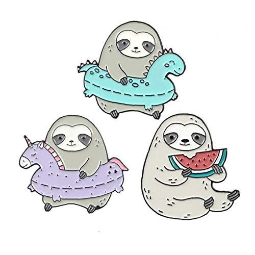 Culer 3Pcs Sloth Broschen Nette Tier Badge LAPE Kleidung Pins Dripping Öl Brosche Schmuck Zubehör-Set