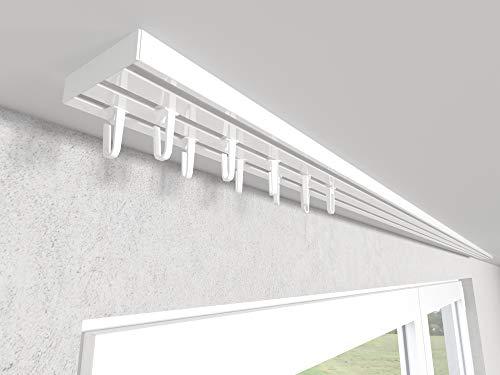 Market-Alley Vorhangschiene Aluminium Weiß Gardinenschiene ; 2-/ 3-/ 4-läufig ; 120cm-600cm. Für Kräuselband Gardinen oder Schiebevorhang (3-läufig ; 120cm ; mit Faltenlegehaken)