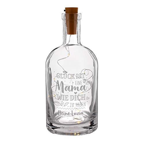 Herz & Heim® dekoratives Muttertagsgeschenk - Flasche mit Gravur inkl. LED Flaschenlicht - Glück ist eine Mama wie dich zu haben