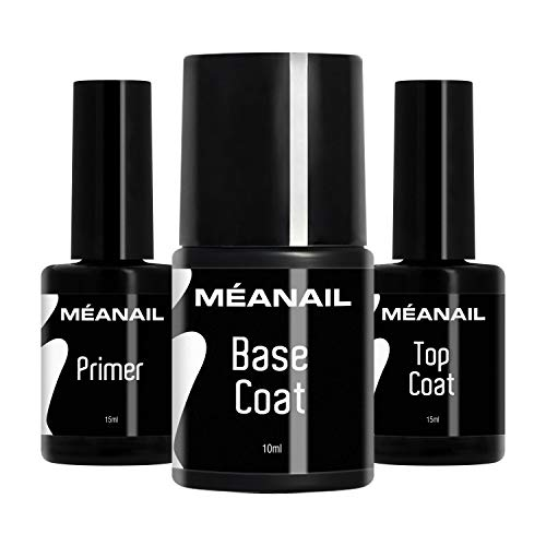 MEANAIL PARIS - TOP COAT - Überlack - für semipermanente Maniküre & Pediküre höchster Qualität - professionell wie im Nagelstudio - Für Langzeithalt bis zu 4 Wochen !! (Primer + Base + Top Coat)