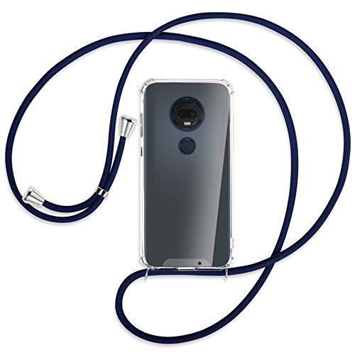mtb more energy® Handykette kompatibel mit Motorola Moto G7 / Moto G7 Plus (6.2'') - dunkelblau - Smartphone Hülle zum Umhängen - Anti Shock Strong TPU Hülle