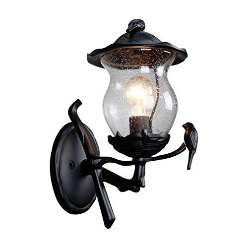 Lámpara de pared resistente Europeo de pared exterior Cuerpo de iluminación, Negro retro pared de aluminio Luces Cortina de cristal Decoración, impermeable aplique Porche luces de montaje en pared
