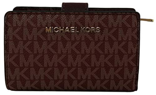 Michael Kors Monedero Plegable de PVC, tamaño Mediano Rojo Oxblood Medium
