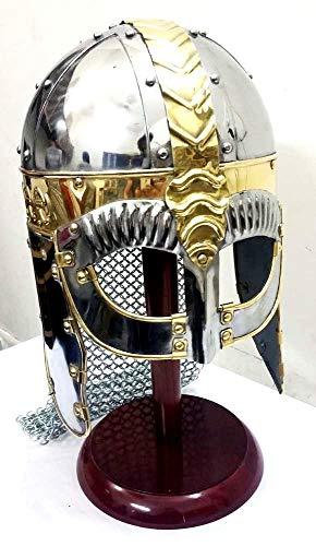 UK Gift Wikinger-Helm mit Kette Post Mittelalter Rüstung Kostüm Helm