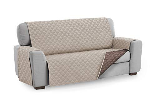 Textilhome - Funda Cubre Sofá Malu, 3 Plazas, Protector para Sofás Acolchado Reversible. Color Beige C/7