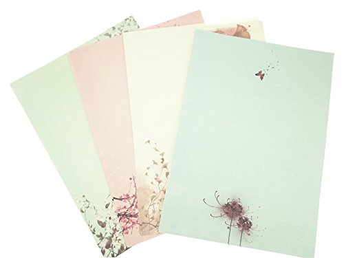 Bilipala 32 Assorted Color Cute Writing Stationery Paper, Letter Writing Paper Letter Sets