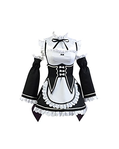Daiendi Re Zero - Disfraz de Rem Vestido de Criada Cosplay Costume Re Zero Small