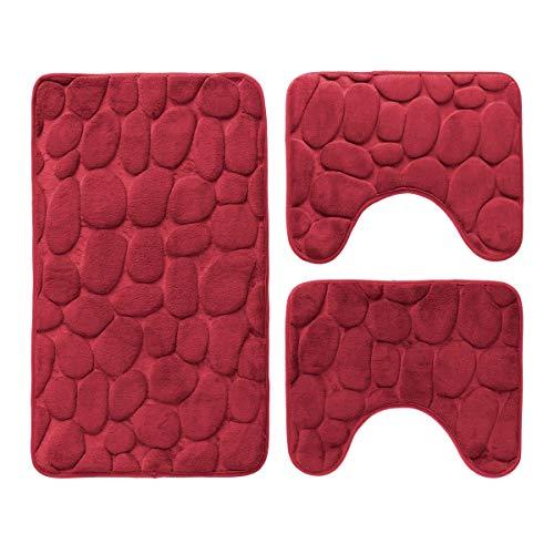 Carillo Set 3 pz Tappetini da Bagno Antiscivolo Sassolini Tappeti Memory Foam R291 Bordeaux