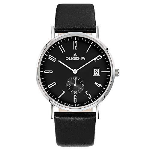 Dugena Herren Quarz-Armbanduhr, Saphirglas, Lederarmband, Mondo, Schwarz/Silber, 4460666
