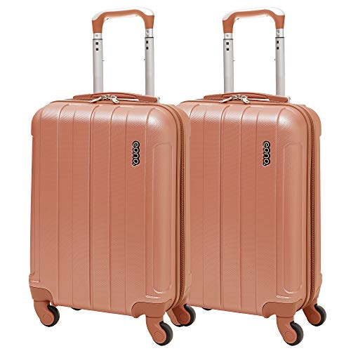 EONO Essentials Lightweight 21' ABS Hard Shell Travel Trolley Carry On Hand Cabin Suitcase with 4 Wheels, Approved for Ryanair easyJet British Airways, Flybe and More, 2 Piece Luggage Set, Rose Gold