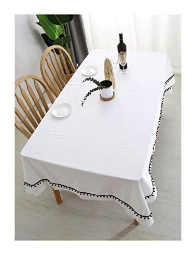 Nappe Rectangulaire - Style Nordique, Nappe Pure Blanche, Linge de Coton, Couverture de Table à Thé Anti-Chaud, Salle à Manger, Cuisine, Nappe Décorative (taille : 140 * 200cm)