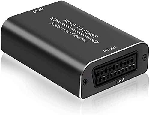 HDMI auf SCART Konverter, AMANKA 1080P HDMI zu SCART Adapter HDMI Eingang SCART Ausgang Composite Video HD Stereo Audio Adapter für DVD CRT-TV Sky PS3 VHS VCR - Aluminum