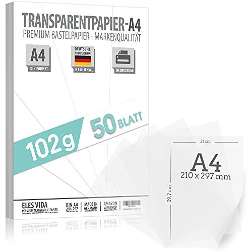 50 Blatt Tranzparentes DIN A4 Papier PREMIUM 102g zum selber Bedrucken, Basteln – Laternenpapier – Abpauspapier – Pauspapier, Transferfolie für Tischkarten und Laternen selber basteln aus Deutschland