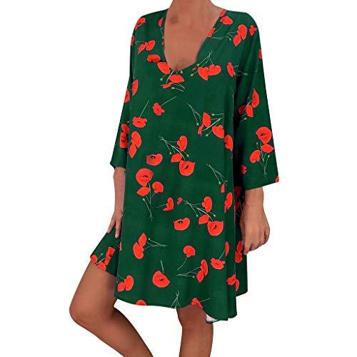 VEMOW Vestido Mujer Faldas Ropa de Verano con Mangas Tres Cuartos y Estampado Suelto para Mujer(A Verde,L)