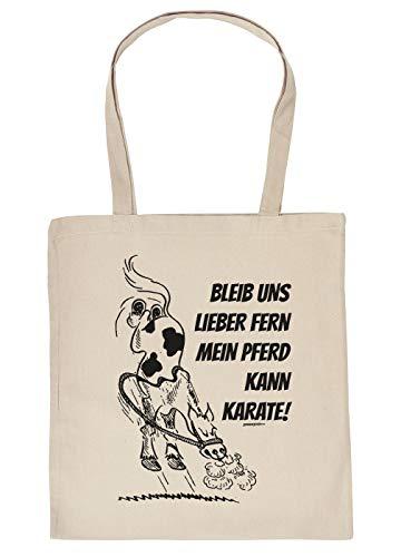 Comic Pferd Tasche - Spruch/Motiv Pferd Stofftasche : Bleib Uns Lieber fern Mein Pferd kann Karate - Stalltasche Reitsport - Farbe : Creme