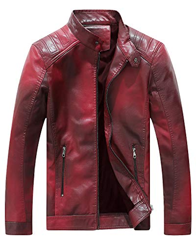 Fairylinks Red Leather Jacket Men Casual Camo, Burgundy, X-Large