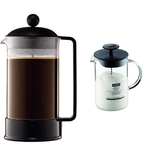 Bodum 1548-01 BRAZIL Kaffeebereiter (French Press System, Permanent Edelstahl-Filter, 1,0 liters) schwarz &  1446-01 Milchschäumer mit Glasgriff Latteo, schwarz