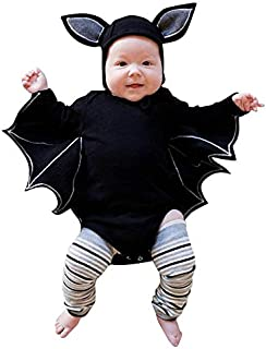 iZHH Newborn Bat Romper for Halloween Clothes Boys Girls Layette Sets Jumpsuit Hats Cartoon Cute Tops Infant Baby Clothes(Black,6-12 Monthes)