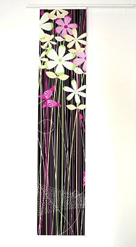 Unbekannt IKEA Schiebegardine Emelina blickdichter Schiebevorhang in 60x300 cm - kürzbar - in Schwarz mit kräftigen Farben, Buntem Blumenmuster und Schmetterling