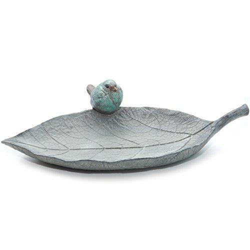 Abreuvoir pour oiseaux TROUPER   Bol en forme de feuille avec oiseau gris, turquoise, vert