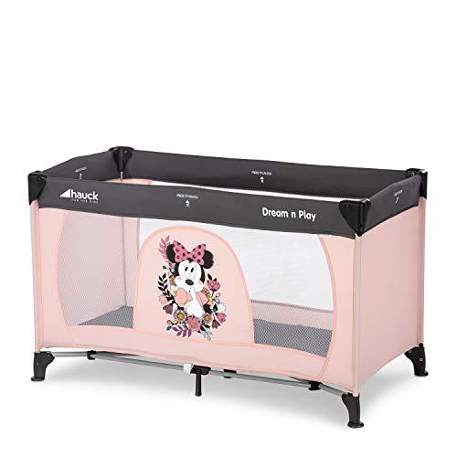 Hauck Dream'n Play Reisebett, 3-teilig 120 x 60 cm, ab Geburt bis 15 kg, inkl. Matratze, Tragetasche (faltbar, tragbar, leicht und kippsicher), Rosa
