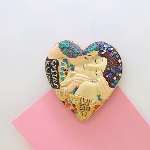 shenlanyu Imanes de nevera imán de corazón europa famosa pintura beso resión estéreo decoración de la cocina etiqueta colorida caliente niños como arte artesanía regalo