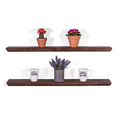 DAKODA LOVE 5.25  Deep Routed Edge Floating Shelves, USA Handmade, Clear Coat Finish, 100% Countersunk Hidden Floating Shelf Brackets, Beautiful Grain Pine Wood Wall Decor (Set of 2) (36 , Espresso)