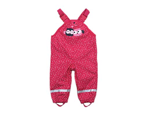 Kinder Baby MädchenRegnhose Regenlatzhose wasserdichte Atmungsaktiv Verstellbaren Trägern Buddelhose Matschhose mit Baumwollfutter (Rose-Herz, 92)