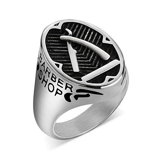 NoraHarry Barber Shop décor Anneau for Les Hommes d'or Couteau de barbier Anneau en Acier Inoxydable Punk Doigt Bague Bijoux de personnalité ( Main Stone Color : Silver , Ring Size : 13 )