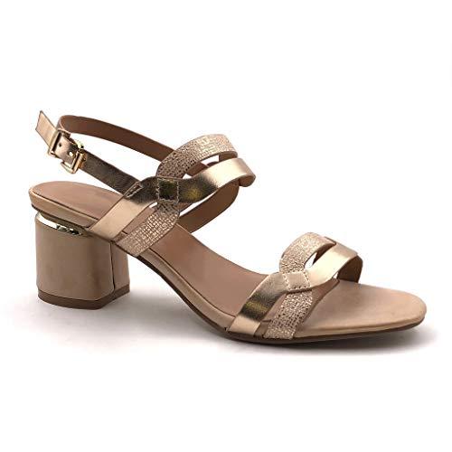 Angkorly - Damen Schuhe Sandalen Pumpe - Offen - Abend - Ehe Zeremonie - Riemen - Glänzende Blockabsatz high Heel 7 cm - Champagner M540 T 37