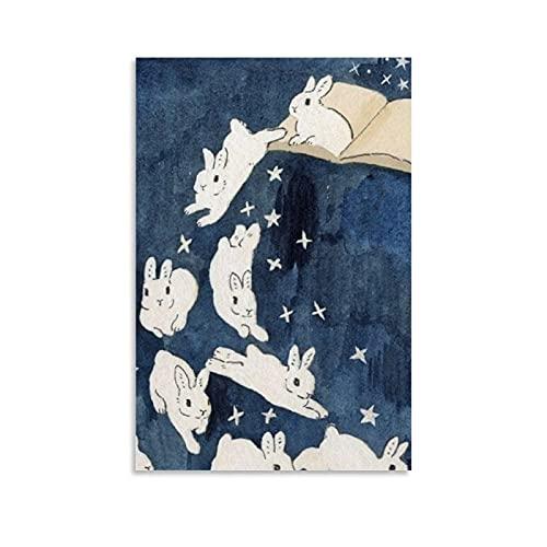 Poster Kaninchen springt aus dem Buch, ästhetisch, Fantasie, Kunst, Zeichnung, Leinwand, Schlafzimmer, Wandbild, 20 x 30 cm