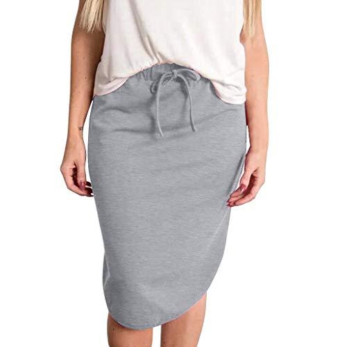 High Waist Skirts for Women Stripe Elastic Drawstring Casual Fashion Midi Skirt (XXL, Solid-Gray)