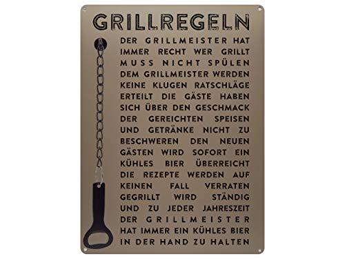 Schilderkönig Metallschild mit Flaschenöffner 300x220mm - Grillregeln - Schild für den Grill Terrasse Balkon Grillecke oder Grillparty