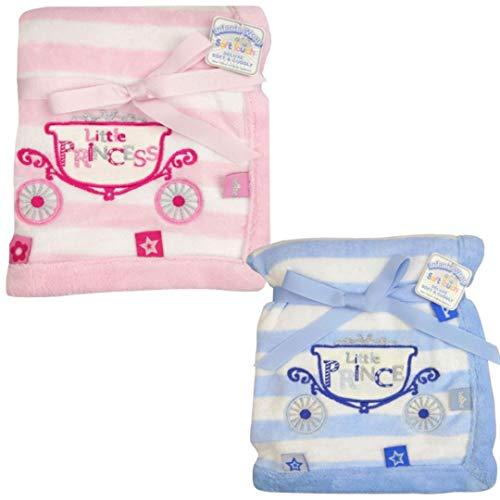Baby Soft Little Prince (Blue) Little Princess (Pink) Cot Blanket Crib Moses Basket Wrap Deluxe Soft and Cuddly (Pink)
