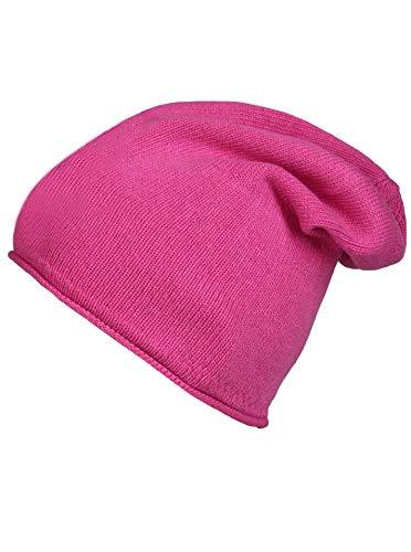 Cashmere Dreams Slouch-Beanie-Mütze mit Kaschmir - Hochwertige Strickmütze für Damen Mädchen Jungen - Hat - Unisex - One Size - warm und weich im Sommer Herbst und Winter Zwillingsherz pink