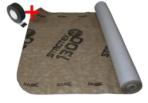 Unterspannbahn inklusive Montageband (je 1 Rolle) - atmungsaktiv (diffusionsoffen) für Dachdecker und Dacheindeckungen mit Dachpfannen oder Trapezbleche