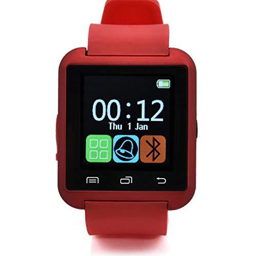 HaiQianXin U8 Bluetooth Reloj de Pulsera Inteligente compañero de teléfono para iOS Android iPhone Samsung HTC LG (Color : Red)